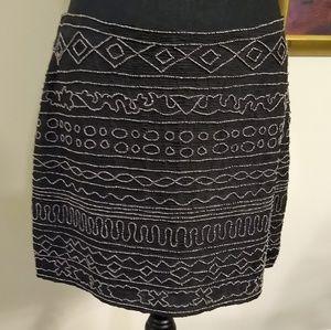 Gryphon New York tribal beaded mini skirt, Medium.
